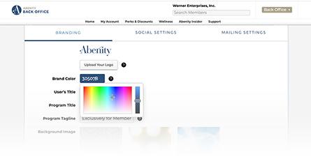 Abenity Back Office branding controls