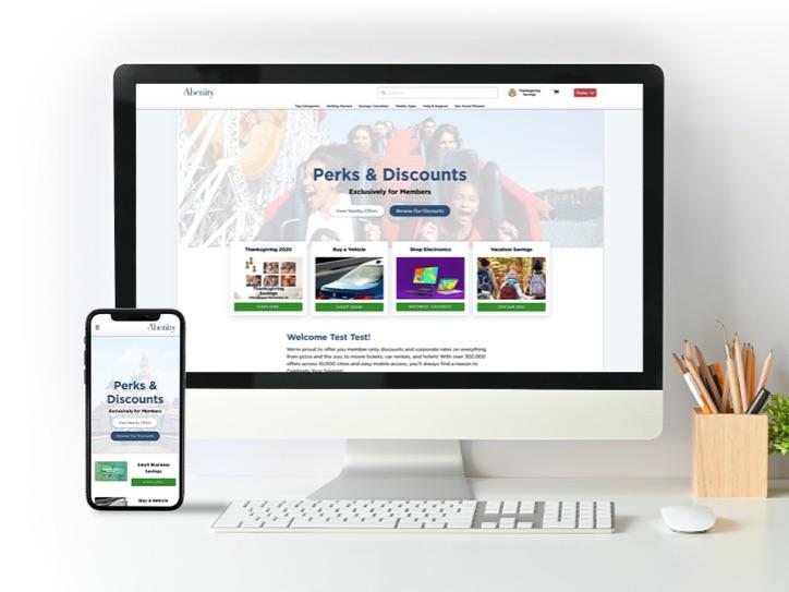 Abenity Perks Program displayed on computer